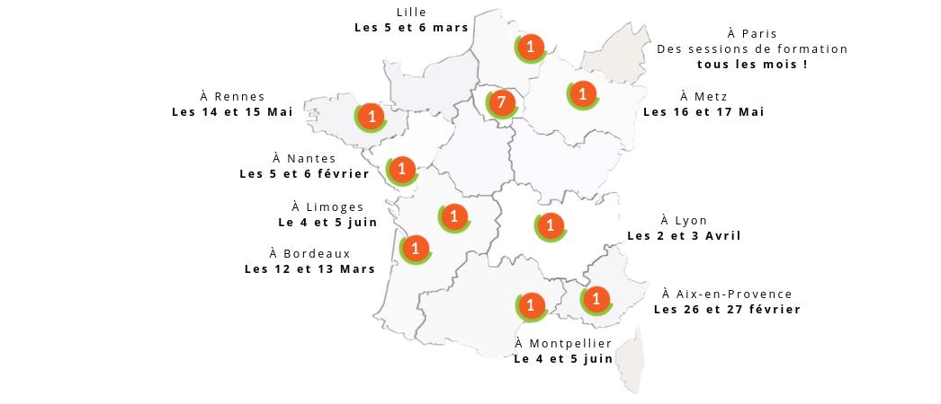 Carte formation LUCIE 26000 partout en France - 2019 - Label LUCIE