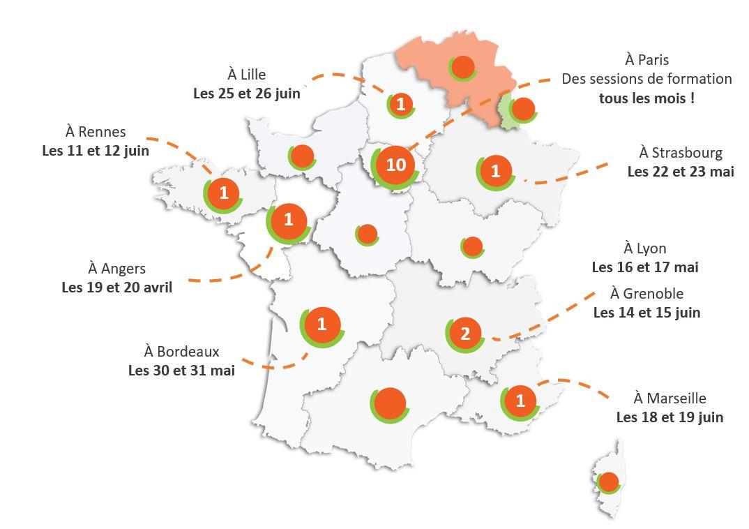 Carte des formations LUCIE 26000 partout en France au 1er semestre 2018 Label LUCIE