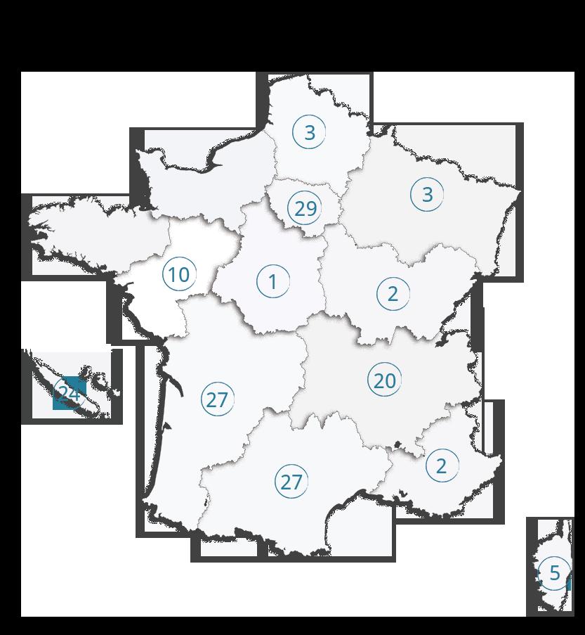 Carte des entreprises labellisées EnVol en 2018 - Label LUCIE