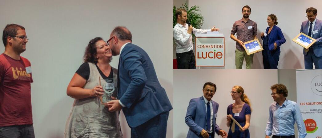 Photo des lauréats du Trophée LUCIE - MicroScop - Empreinte Digitale et CELENCIA - Label LUCIE