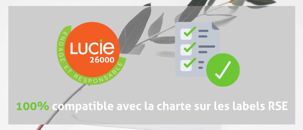 Logo label LUCIE 26000 100% compatible avec les 12 principes de la charte sur les labels RSE