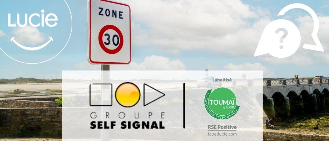Photo d'un panneau zone à 30 km/h produit par Self Signal labellisé TOUMAI - Label LUCIE